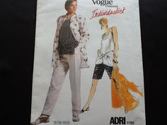 Vogue pattern 1705. Vintage uncut 1986 ADRI misses' loose fitting jacket, mid knee shorts or tapered pants and top with front tie ends. by Stitchandzip on Etsy