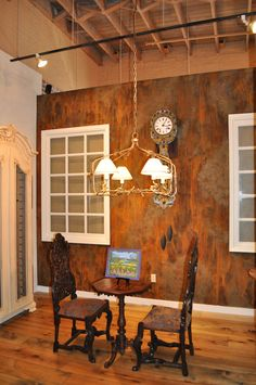 Inspiration - this wall was created using Metal Masters Iron Paint and rust activator. fabulous!