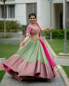 Unique patterned offbeat lehenga choli for this wedding season is being preferred over red. Choose a lehenga that makes everyone's hearts flutter. Multicolored lehenga to slay your bridal look this season. Half Saree Lehenga, Lehenga Saree Design, Lehenga Designs, Saree Blouse Designs, Sari, Anarkali, Half Saree Designs, Choli Designs, Fancy Blouse Designs