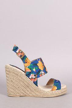 Qupid Floral Slingback Espadrille Platform Wedge – Style Lavish