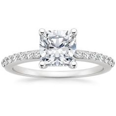 18K White Gold Petite Shared Prong Diamond Ring (1/4 ct. tw.), top view cushion cut with a petite pave band ❤️❤️❤️