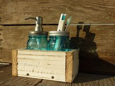 Soap   toothbrush holder, would LOVE ones made of mason jars! Or if not, wood, maybe metal not plastic...