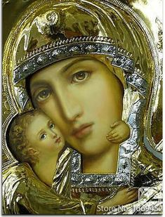 Russian Orthodox Icon of the Mother of God. This contemporary icon shows a clear delineation between the painted surface and the embossed metal frame. This is hanging above our hearth. Divine Mother, Blessed Mother Mary, Blessed Virgin Mary, Religious Pictures, Religious Icons, Religious Art, Madonna Und Kind, Madonna And Child, Mama Mary