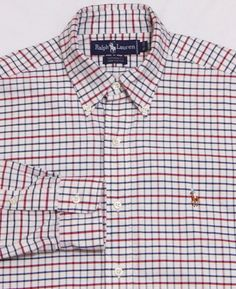NWOT Men's RALPH LAUREN L/S Shirt 15 - 33 White Checks YARMOUTH OXFORD Vtg Polo #PoloRalphLauren