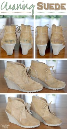 How to Clean Suede Shoes! Return scuffed, stained, & dirty suede shoes to their previous glory and KEEP them that way. Clean Suede Shoes, How To Clean Suede, Clean Boots, Diy Clean Shoes, How To Clean Toms, Clean Canvas Shoes, How To Clean White Shoes, Diy Cleaning Products, Cleaning Hacks