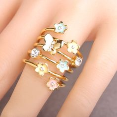 Blucome Enamel Esmalte Butterfly Flower Ring Gold Color Crystal Anillos Mujer Multilayer Rings For Women Party Accessories Anel