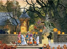 "Sunsout's ""Friends on Halloween"", a 1000 piece jigsaw puzzle, by Doug Laird; friends don't let friends trick-or-treat at haunted houses alone! Retro Halloween, Halloween Kunst, Halloween Artwork, Halloween Prints, Halloween Pictures, Halloween Wallpaper, Holidays Halloween, Happy Halloween, Halloween Decorations"