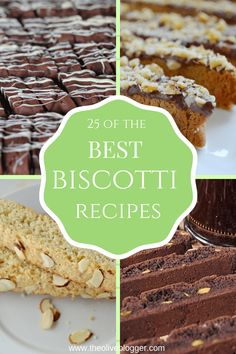 25 of the Best Biscotti Recipes for you to enjoy! Sometimes made with nuts, a variety of fruit or just chocolate and either way we love them! Best Biscotti Recipes - 25 Delicious Cookies - THE OLIVE Biscotti Cookies, Yummy Cookies, Sugar Cookies, Cookie Desserts, No Bake Desserts, Cookie Recipes, Dessert Recipes, Italian Cookies, Baking Recipes