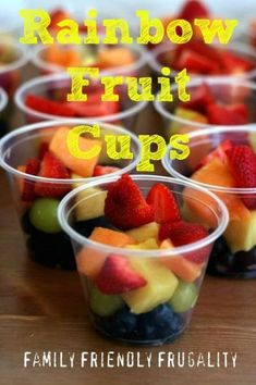 Homemade Rainbow Fruit Cups for a Party! - Kay Smiljanic - Homemade Rainbow Fruit Cups for a Party! Super simple, but it was the FIRST thing gone at our birthday party for my daughter! Wiggles Party, Wiggles Birthday, Trolls Birthday Party, Rainbow Birthday Party, Fruit Birthday, 2nd Birthday, Birthday Food Ideas For Kids, Birthday Party Appetizers, Fruit Appetizers