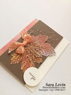 Layered Leaves September 2017 Paper Pumpkin Kit alternative card with copper Homemade Gifts For Dad, Homemade Cards, Fall Cards, Christmas Cards, Stampin Up Paper Pumpkin, Pumpkin Cards, Leaf Cards, Thanksgiving Cards, Halloween Cards