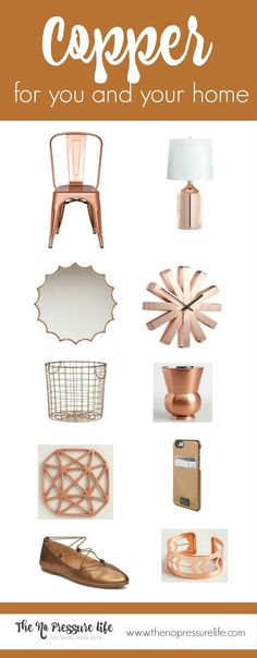 Warm up your home and wardrobe with copper accessories! Here's a list of 10 gorgeous copper home accessories - plus a little copper for your closet, too! Get the sources at The No Pressure Life. Copper Home Accessories, Home Decor Accessories, Home Organization Hacks, Closet Organization, Home Decor Shops, Diy Home Decor, Walk In Closet Ikea, Cheap Christmas Gifts, Holiday Gift Guide
