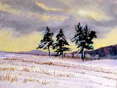 """""""Last Light"""" by Holly Knott. Pastel painting of a cornfield in the Berkshires, western, MA, after a Thanksgiving snowstorm. www.hollyknott.com"""