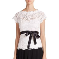 Teri Jon by Rickie Freeman Lace Belted Blouse (1.425 BRL) ❤ liked on Polyvore featuring tops, blouses, apparel & accessories, white blouse, scalloped lace top, cap sleeve top, white top and white lace blouse