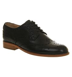 Poste Mistress Blossom Brogue Shoe Black Leather - Flats