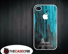 Teal mint wood pattern iPhone 4s or iPhone 4 Case, Cover