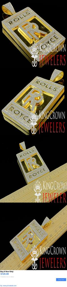 Luxury Cars: Real Yellow Gold Sterling Silver Lab Diamond Luxury Car Logo Rr Pendant 2.65 BUY IT NOW ONLY: $129.99 #priceabateLuxuryCars OR #priceabate