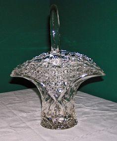 L E Smith Large Crystal Basket | eBay $40.00