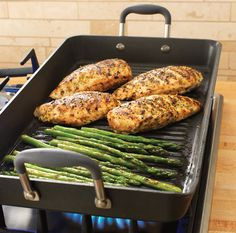 The hottest NEW product this season, the Double Burner Grill! Cook enough for a crowd in one batch! The large cooking surface fits up to four paninis, six steaks or eight burgers. Flat base ensures it sits across two stovetop burners.
