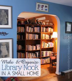"Just because you have a tiny home doesn't mean you can't have a library! This article shows you an incredibly creative way to fit a library ""nook"" into any more. It also has ideas for organizing it and free label templates to help you do that! So get all your books out of boxes, piles and storage and put them in their rightful place… a library!"