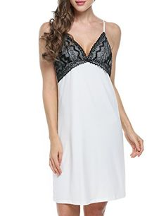 8bbb1c432e Ekouaer Womens Sexy Lingerie Sleepwear Nightgown Slip ChemiseWhiteSmall    To view further for this item