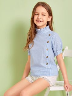 To find out about the Girls Striped Button Front Frilled Neckline Top at SHEIN, part of our latest Girls Blouses ready to shop online today! Stylish Dresses For Girls, Frocks For Girls, Kids Outfits Girls, Cute Girl Outfits, Shirts For Girls, Girls Dresses, Preteen Girls Fashion, Girls Fashion Clothes, Young Fashion