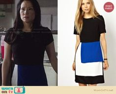 Joan's black, white and blue short-sleeved dress on Elementary.  Outfit Details: https://wornontv.net/25062/ #Elementary