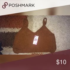 Knitted brown sweater crop top It's never been worn it was suppose to be a small and it's more like a large or xl Tops Crop Tops