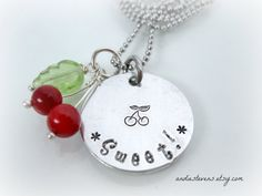 Sweet Cherry Necklace  Hand Stamped  by andiestevensdesigns