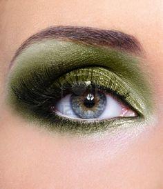 Make-up Of Woman Eye With Khaki Eyeshadows