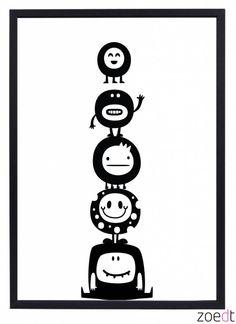 Nieuw!! Poster voor de kinderkamer met monsters