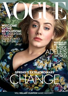 Adele wearing a bespoke Burberry crystal embellished silk georgette dress on the March cover of Vogue US
