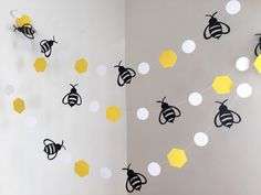 Mommy to Bee Bumble Bee Baby Shower Decorations , Bumble Bee Birthday Decor , 10ft Bee Garland/bunting , Bumble Bee Nursery decor,Bee banner