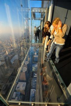 "Sears Tower Glass Platform ~ Chicago, Illinois. Add this to your vacation bucket list. Redefine the meaning of ""breathtaking views"" as you perch 1,353 feet above Chicago in a glass viewing cube."