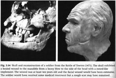 Reconstruction of a skull found at the Battle of Towton