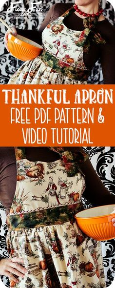I love this free apron pattern and tutorial There's a video to make it easy. Such a great DIY idea for Thanksgiving.