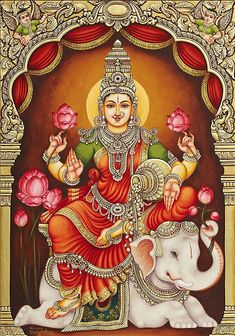 """☀ SHRI LAKSHMI DEVI ॐ ☀ """"I offer my obeisances unto the lotus-born mother of all beings, unto Sri the Goddess of fortune, having full-blown lotus-like eyes, and reposing in the bosom of. Mysore Painting, Kerala Mural Painting, Tanjore Painting, Indian Art Paintings, Abstract Paintings, Oil Paintings, Saraswati Goddess, Kali Goddess, Indian Goddess"""