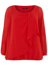 PLus size clothing website. Evans Red Overlay Bubble Top