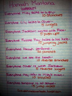 Hannah Montana workout!  Want to see more workouts like this one? Follow us here.
