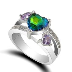 Heart Rainbow Topaz And Cubic Zirconia Silver Plated Ring Various Size