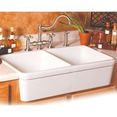 Alfi Brand AB512 Double Bowl Fireclay Farmhouse Kitchen Sink - Double basin sink