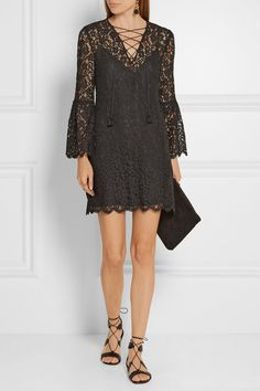 Black corded lace Button-fastening keyhole at back  58% rayon, 24% cotton, 18% nylon; lining: 100% polyester Dry clean