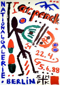 A.R. PENCK rare exhibition poster from 1988