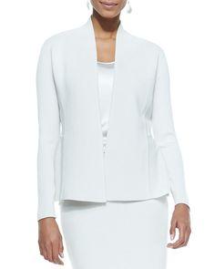 Silk-Cotton Peplum Jacket, Size: XL (18), ivory - Eileen Fisher