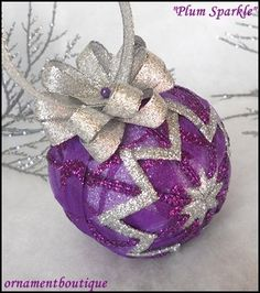 Purple Christmas Ornament Quilted silver by OrnamentBoutique