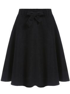 Black High Waist A Line Skirt 14.08