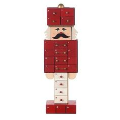 Large Red Toy Soldier / Nutcracker Christmas Advent Calendar * 24 Drawers * Gift