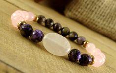 Cuarzo rosa fertilidad embarazo joyas regalo para mujer pulsera Charoite mujer cura intención piedra pulsera novia regalo para hermana