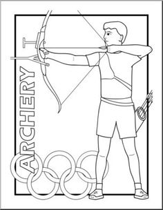 Clip Art: Summer Olympics Event Illustrations: Archery B&W - preview 1