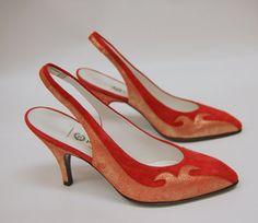 Vintage Pollini Fire Red Suede Slingback Heels 55 by hipandvintage, $25.00