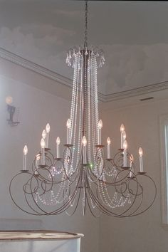 Crystal Scroll Chandelier 18 candle Two Tier Home Design Decor, House Design, Home Decor, 18 Candles, Chandeliers, Ceiling Lights, Steel, Crystals, Studio